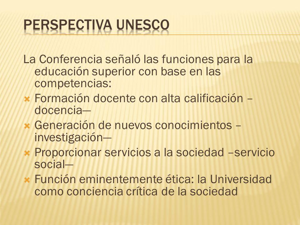 La Conferencia señaló las funciones para la educación superior con base en las competencias: Formación docente con alta calificación – docencia Genera