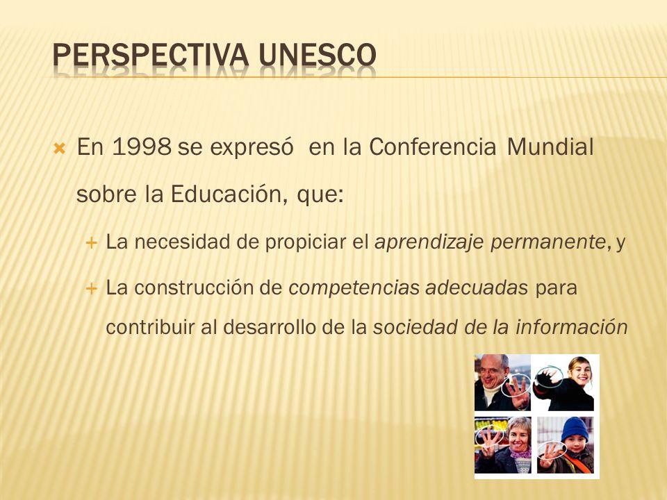 En 1998 se expresó en la Conferencia Mundial sobre la Educación, que: La necesidad de propiciar el aprendizaje permanente, y La construcción de compet