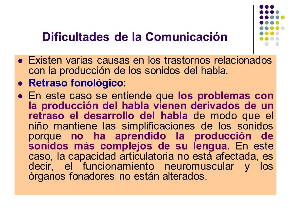 Dificultades de la Comunicación Trastornos fonéticos o dislalia: La alteración en las dislalias viene causada porque el niño no ha adquirido de forma correcta los patrones de movimiento que son necesarios para la producción de algunos sonidos del habla.