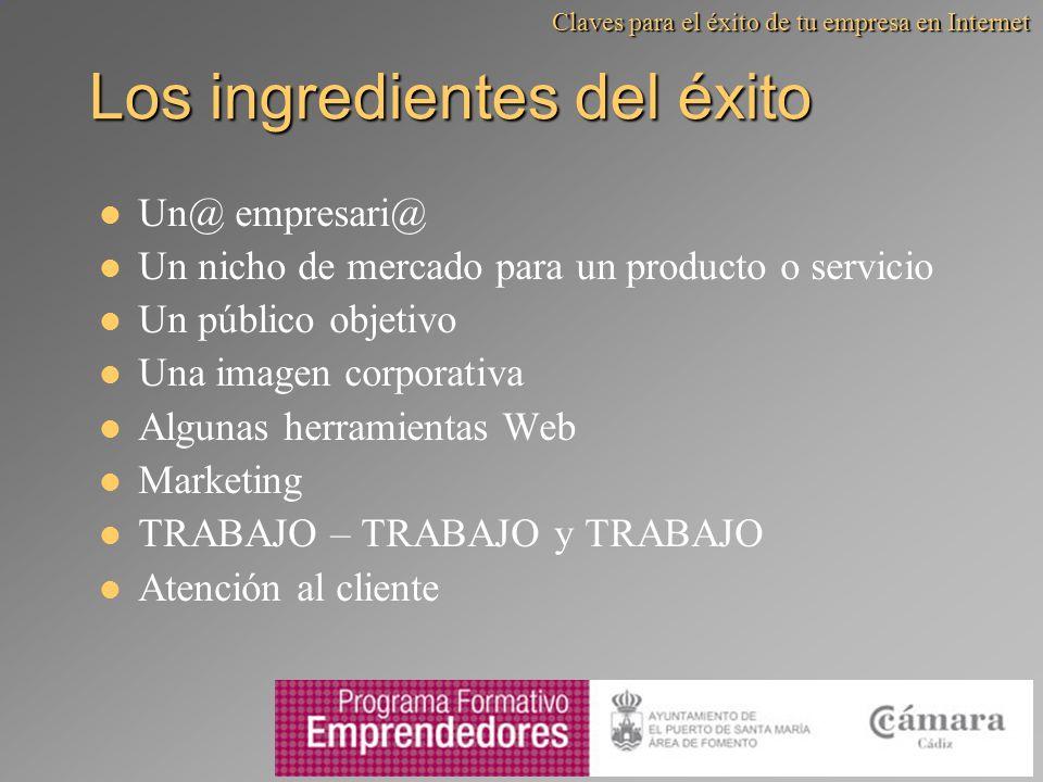 Los ingredientes del éxito Un@ empresari@ Un nicho de mercado para un producto o servicio Un público objetivo Una imagen corporativa Algunas herramien