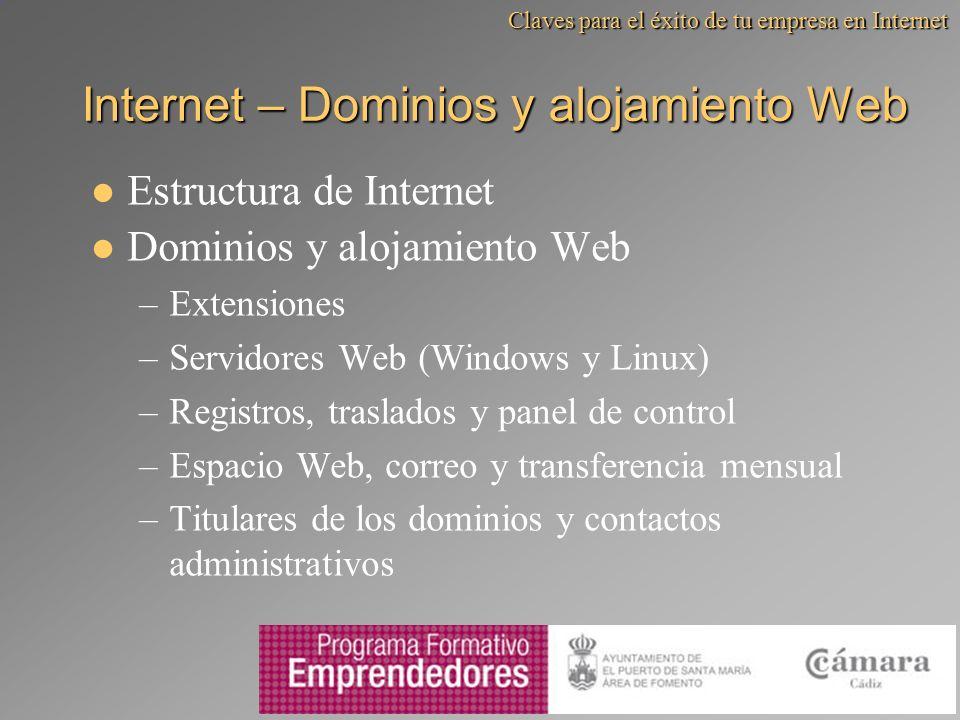 Internet – Dominios y alojamiento Web Estructura de Internet Dominios y alojamiento Web –Extensiones –Servidores Web (Windows y Linux) –Registros, tra
