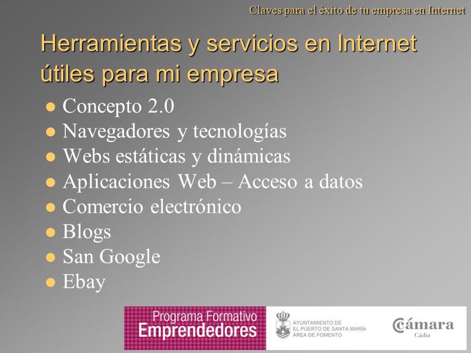 Herramientas y servicios en Internet útiles para mi empresa Concepto 2.0 Navegadores y tecnologías Webs estáticas y dinámicas Aplicaciones Web – Acces