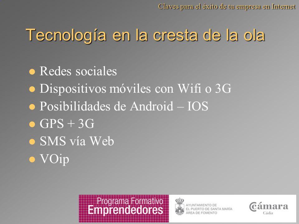 Tecnología en la cresta de la ola Redes sociales Dispositivos móviles con Wifi o 3G Posibilidades de Android – IOS GPS + 3G SMS vía Web VOip Claves pa