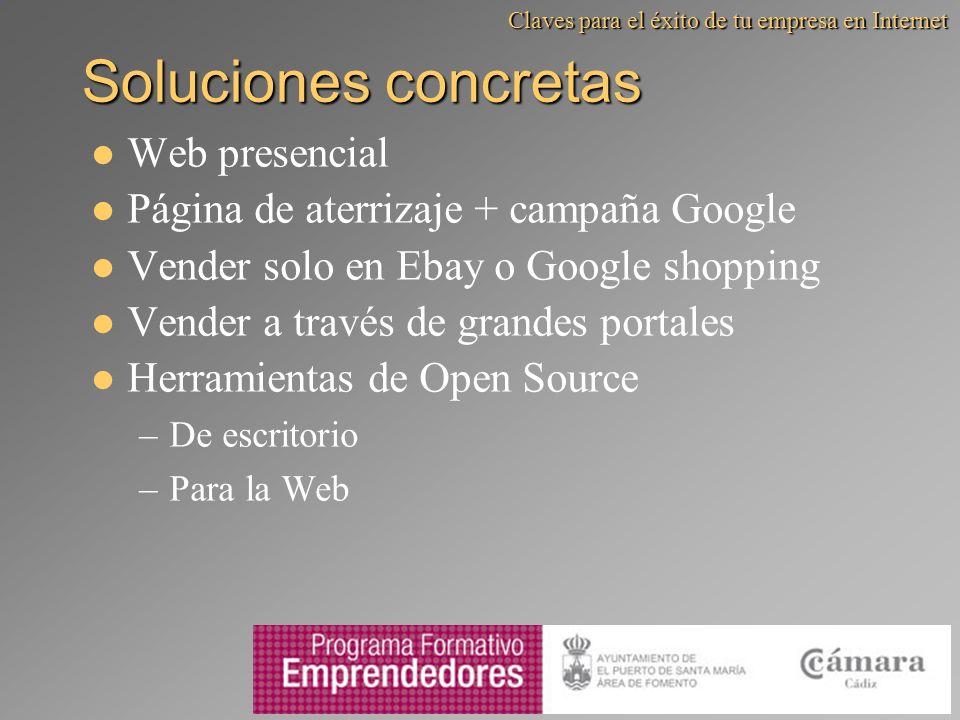 Soluciones concretas Web presencial Página de aterrizaje + campaña Google Vender solo en Ebay o Google shopping Vender a través de grandes portales He