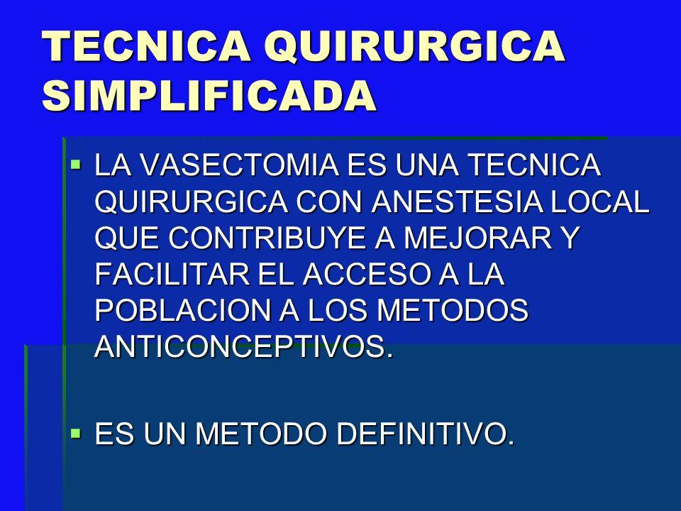 BENEFICIOS DE LA TECNICA QX SIMPLIFICADA No requiere hospitalización.
