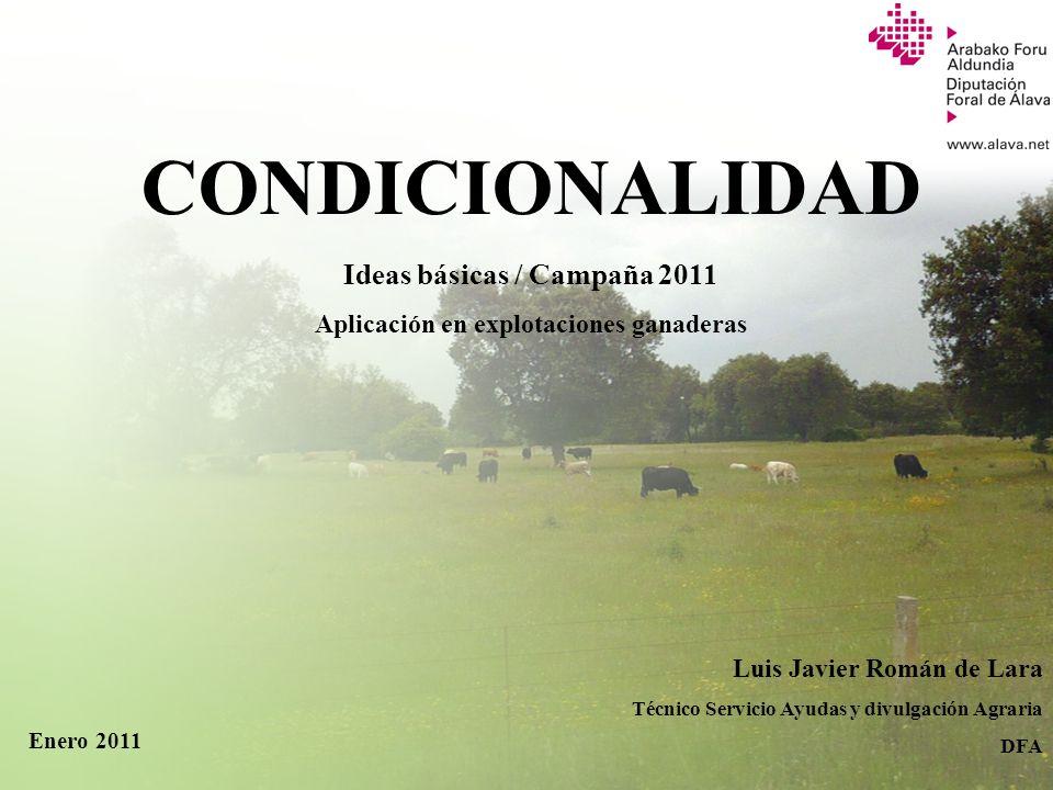 Servicio de Ayudas y Divulgación Agraria Ideas básicas / Campaña 2011 Aplicación en explotaciones ganaderas Luis Javier Román de Lara Técnico Servicio