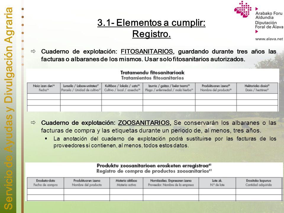 Servicio de Ayudas y Divulgación Agraria 3.1- Elementos a cumplir: Registro. Cuaderno de explotación: FITOSANITARIOS, guardando durante tres años las