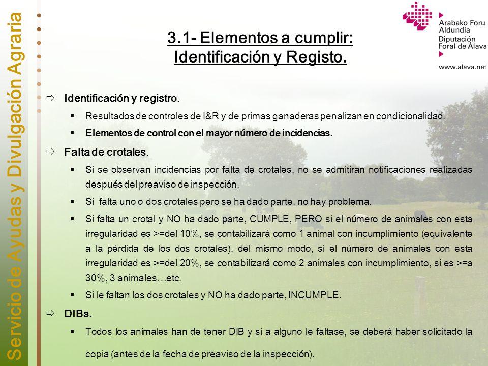 Servicio de Ayudas y Divulgación Agraria 3.1- Elementos a cumplir: Identificación y Registo. Identificación y registro. Resultados de controles de I&R