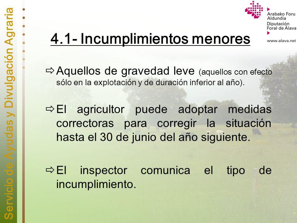 Servicio de Ayudas y Divulgación Agraria 4.1- Incumplimientos menores Aquellos de gravedad leve (aquellos con efecto sólo en la explotación y de durac