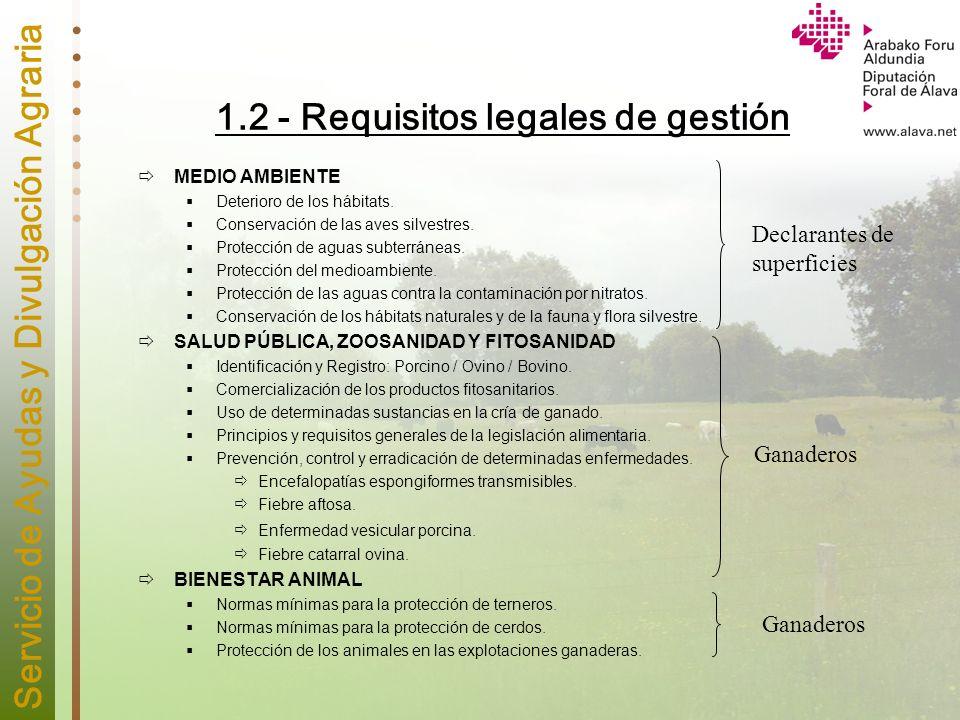 Servicio de Ayudas y Divulgación Agraria 1.2 - Requisitos legales de gestión MEDIO AMBIENTE Deterioro de los hábitats. Conservación de las aves silves