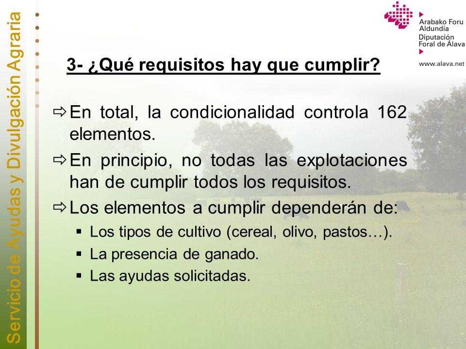 Servicio de Ayudas y Divulgación Agraria 3- ¿Qué requisitos hay que cumplir? En total, la condicionalidad controla 162 elementos. En principio, no tod
