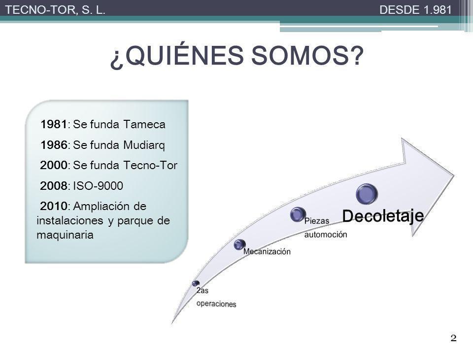 ¿QUIÉNES SOMOS? TECNO-TOR, S. L.DESDE 1.981 1981: Se funda Tameca 1986: Se funda Mudiarq 2000: Se funda Tecno-Tor 2008: ISO-9000 2010: Ampliación de i