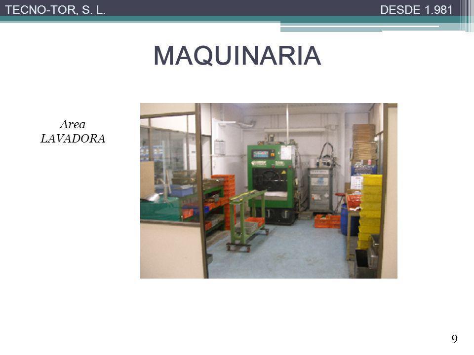 MAQUINARIA TECNO-TOR, S. L.DESDE 1.981 Area LAVADORA 9