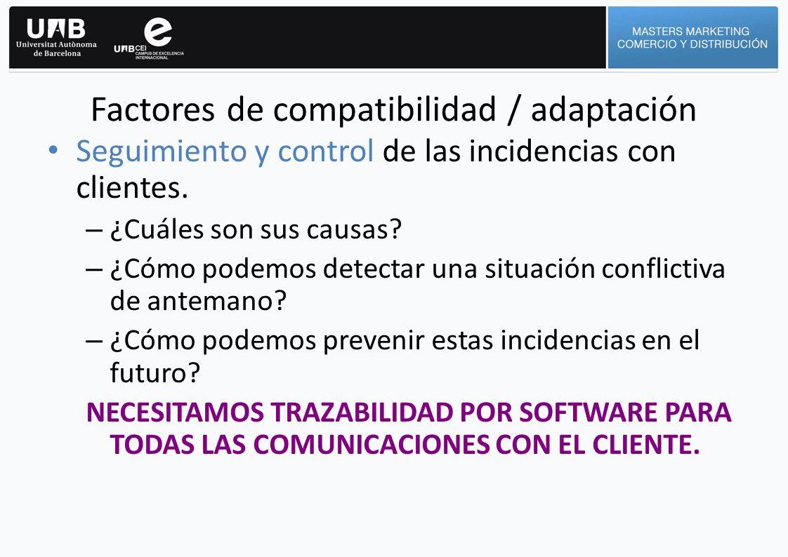 Factores de compatibilidad / adaptación Seguimiento y control de las incidencias con clientes. – ¿Cuáles son sus causas? – ¿Cómo podemos detectar una