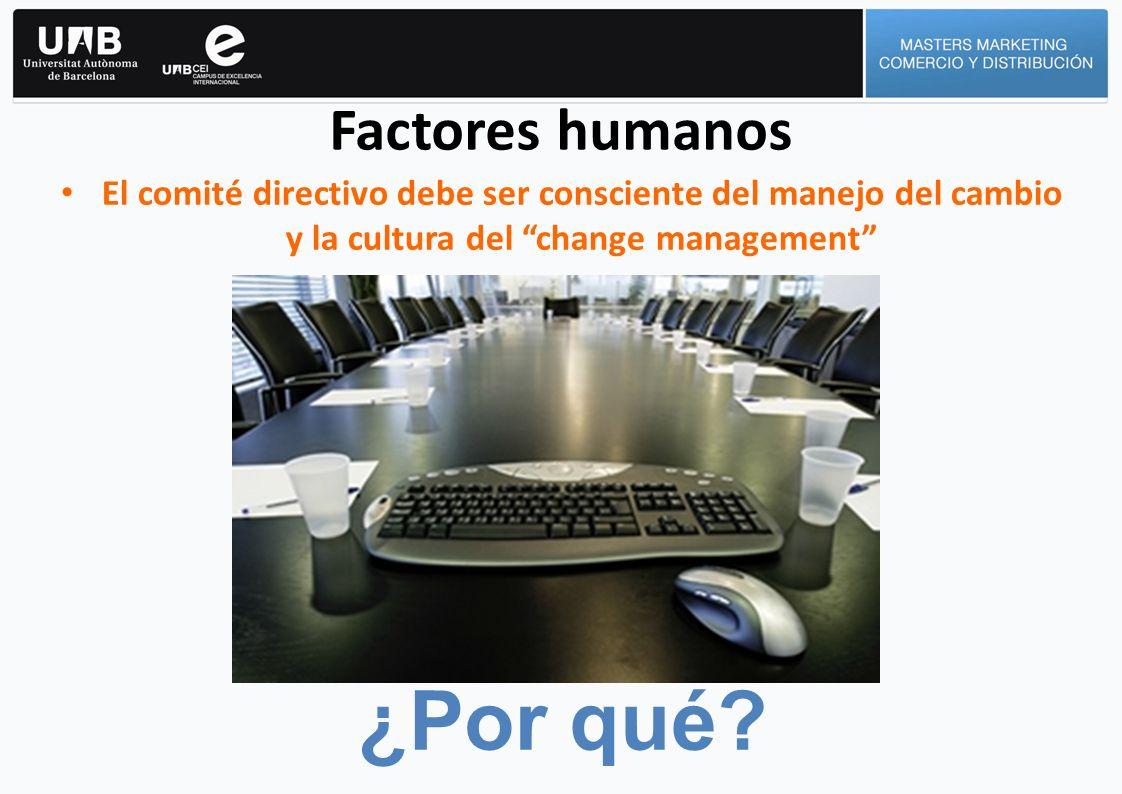 Factores humanos El comité directivo debe ser consciente del manejo del cambio y la cultura del change management ¿Por qué?