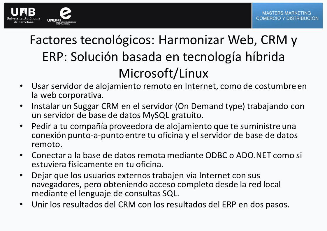Usar servidor de alojamiento remoto en Internet, como de costumbre en la web corporativa. Instalar un Suggar CRM en el servidor (On Demand type) traba