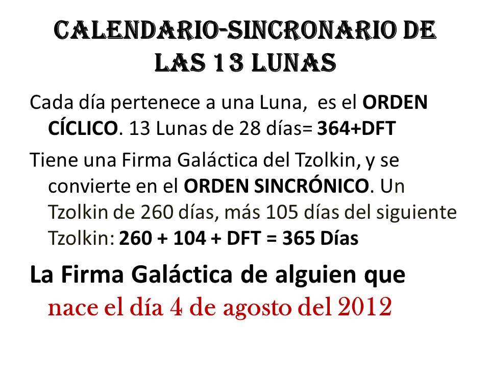 Calendario-Sincronario de las 13 Lunas Cada día pertenece a una Luna, es el ORDEN CÍCLICO. 13 Lunas de 28 días= 364+DFT Tiene una Firma Galáctica del