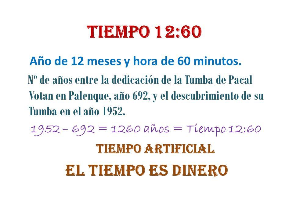 Tiempo 12:60 Año de 12 meses y hora de 60 minutos. Nº de años entre la dedicación de la Tumba de Pacal Votan en Palenque, año 692, y el descubrimiento