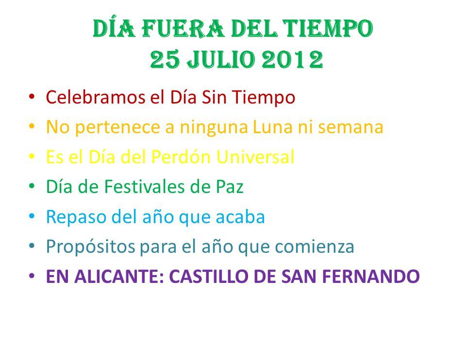 DÍA FUERA DEL TIEMPO 25 JULIO 2012 Celebramos el Día Sin Tiempo No pertenece a ninguna Luna ni semana Es el Día del Perdón Universal Día de Festivales