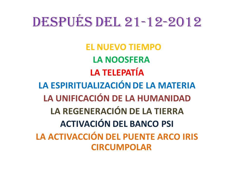 Después del 21-12-2012 EL NUEVO TIEMPO LA NOOSFERA LA TELEPATÍA LA ESPIRITUALIZACIÓN DE LA MATERIA LA UNIFICACIÓN DE LA HUMANIDAD LA REGENERACIÓN DE L