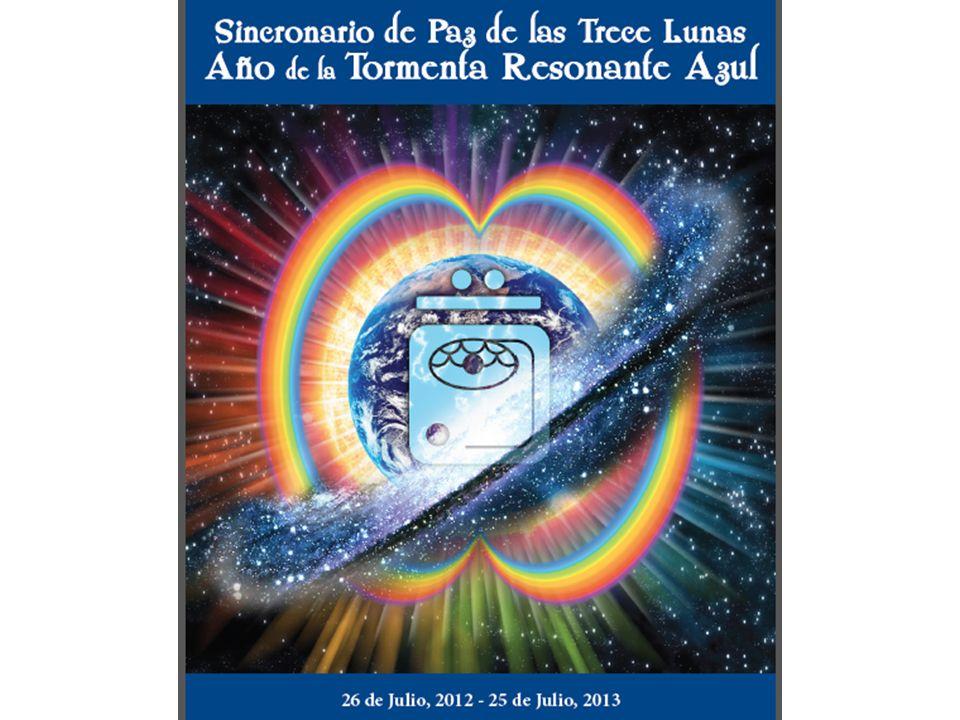 TORMENTA RESONANTE AZUL Desde el 26 de Julio del 2012 al 25 de Julio del 2013 Con 13 Lunas de 28 días, 13x28 = 364 + DFT 52 semanas de 7 días, 52x7 = 364 + DFT Semana de 7 días, cada día llamado por el nombre de los PLASMAS RADIALES Cada Plasma Radial ubicado en uno de los 7 Chakras mayores