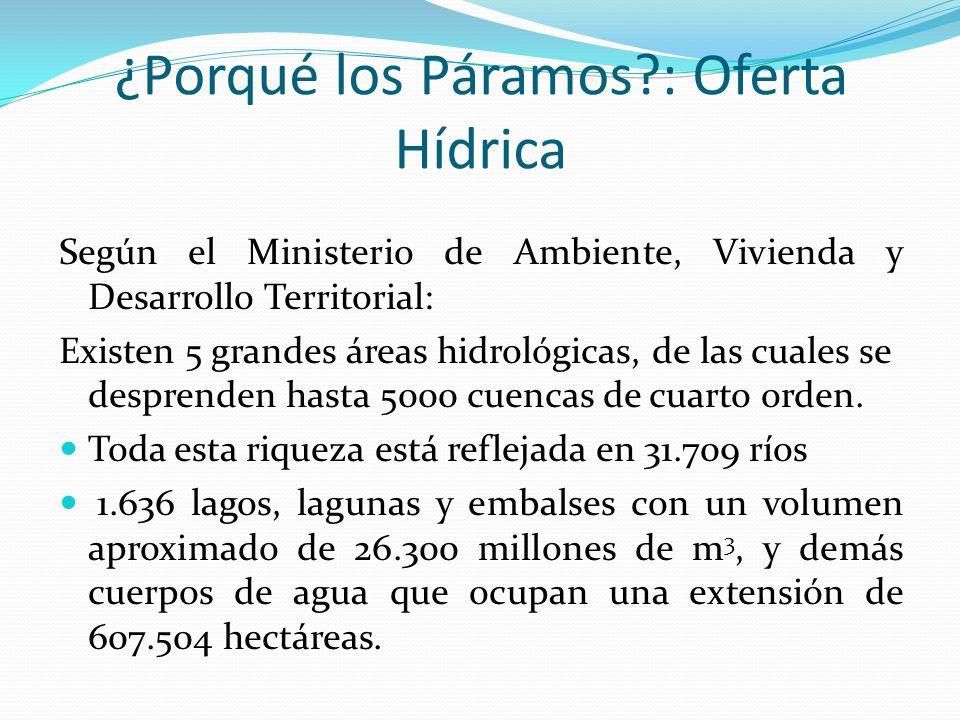 Según el Ministerio de Ambiente, Vivienda y Desarrollo Territorial: Existen 5 grandes áreas hidrológicas, de las cuales se desprenden hasta 5000 cuenc