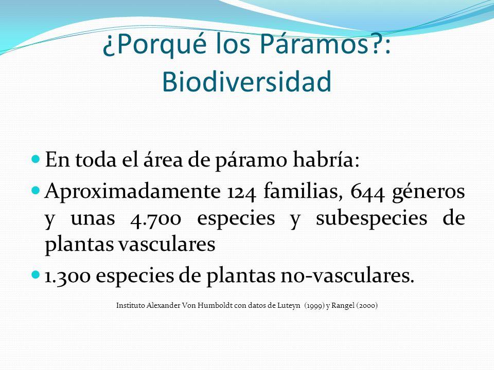 ¿Porqué los Páramos?: Biodiversidad En toda el área de páramo habría: Aproximadamente 124 familias, 644 géneros y unas 4.700 especies y subespecies de