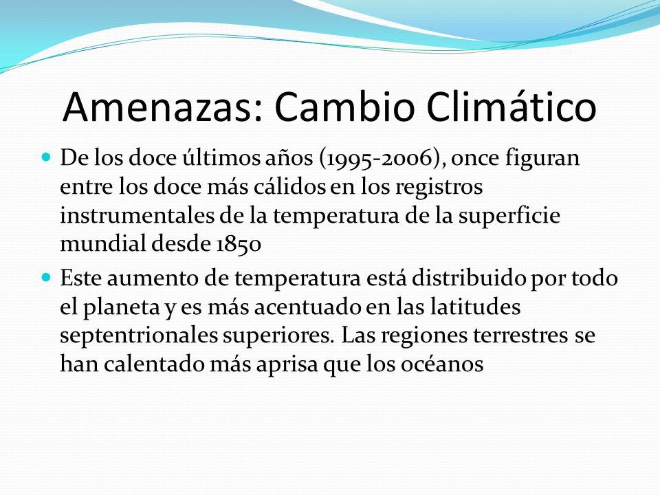 Amenazas: Cambio Climático De los doce últimos años (1995-2006), once figuran entre los doce más cálidos en los registros instrumentales de la tempera