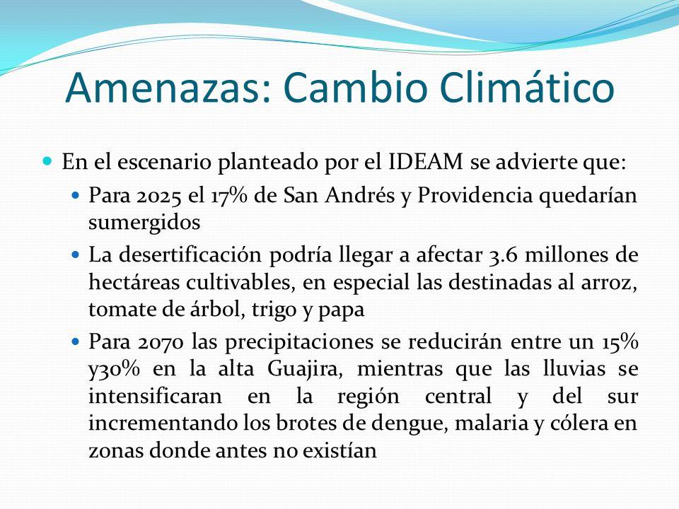Amenazas: Cambio Climático En el escenario planteado por el IDEAM se advierte que: Para 2025 el 17% de San Andrés y Providencia quedarían sumergidos L