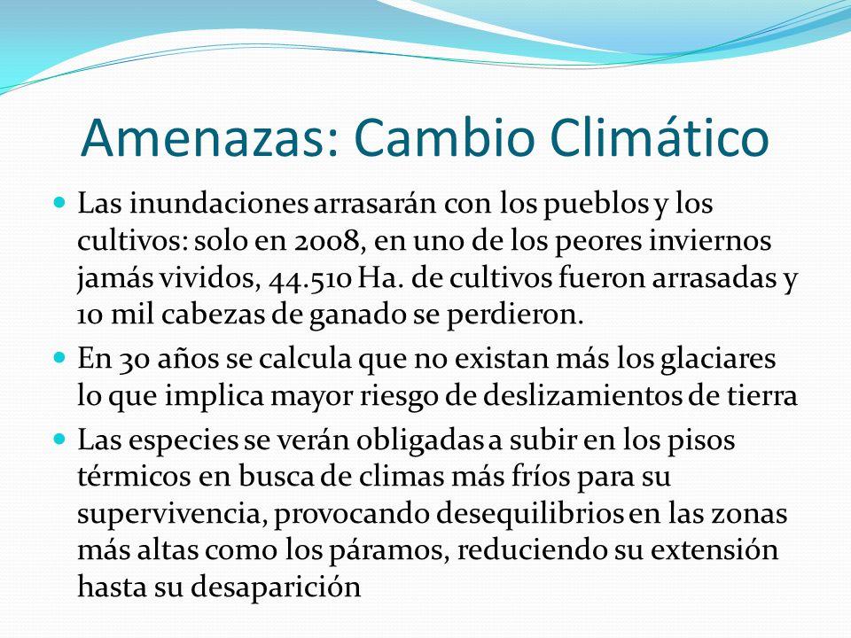 Amenazas: Cambio Climático Las inundaciones arrasarán con los pueblos y los cultivos: solo en 2008, en uno de los peores inviernos jamás vividos, 44.5