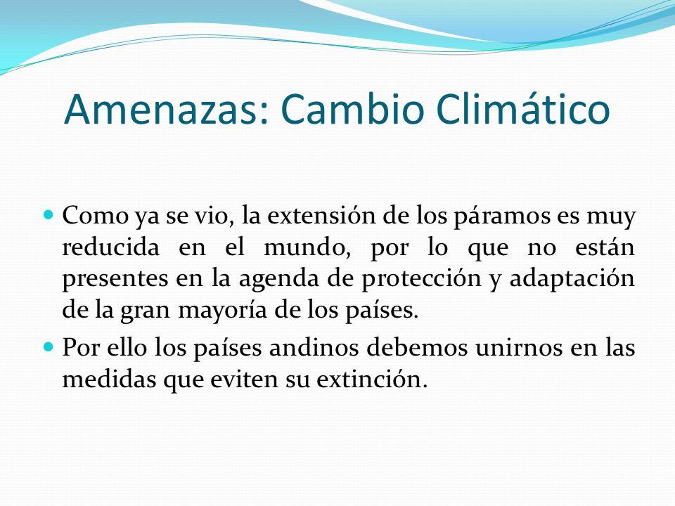 Amenazas: Cambio Climático Como ya se vio, la extensión de los páramos es muy reducida en el mundo, por lo que no están presentes en la agenda de prot