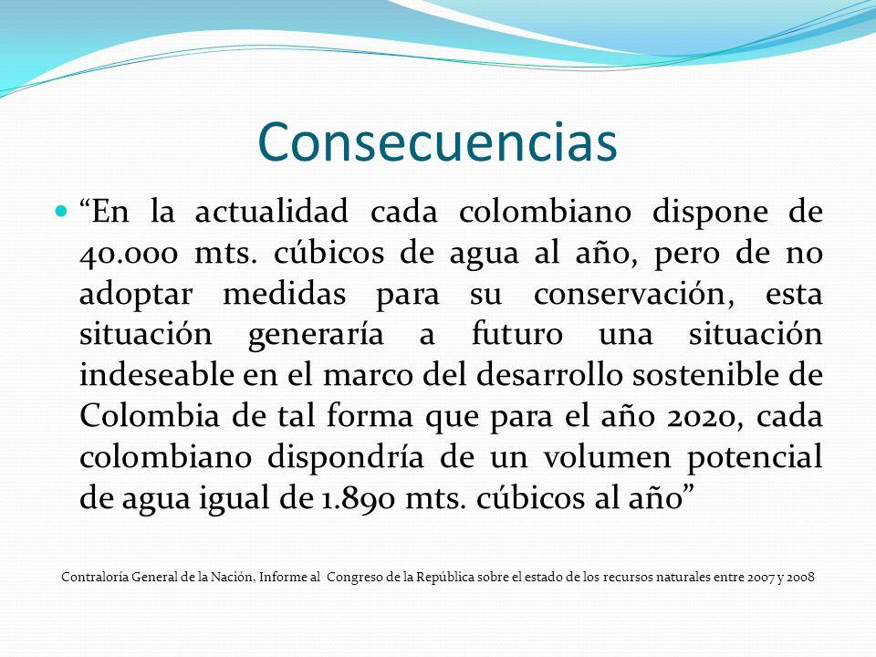 Consecuencias En la actualidad cada colombiano dispone de 40.000 mts. cúbicos de agua al año, pero de no adoptar medidas para su conservación, esta si