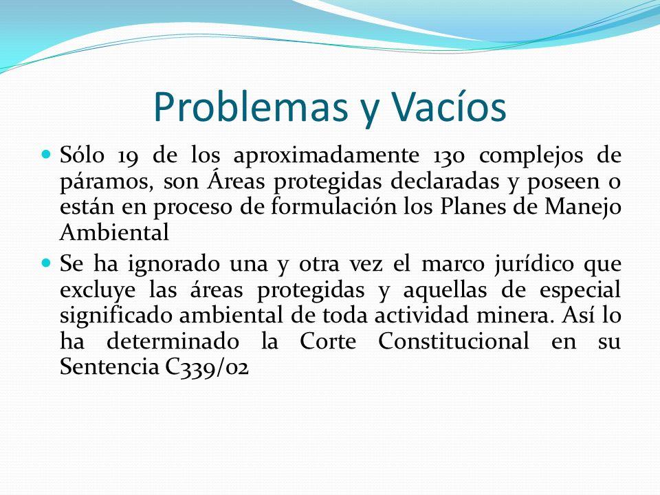 Problemas y Vacíos Sólo 19 de los aproximadamente 130 complejos de páramos, son Áreas protegidas declaradas y poseen o están en proceso de formulación