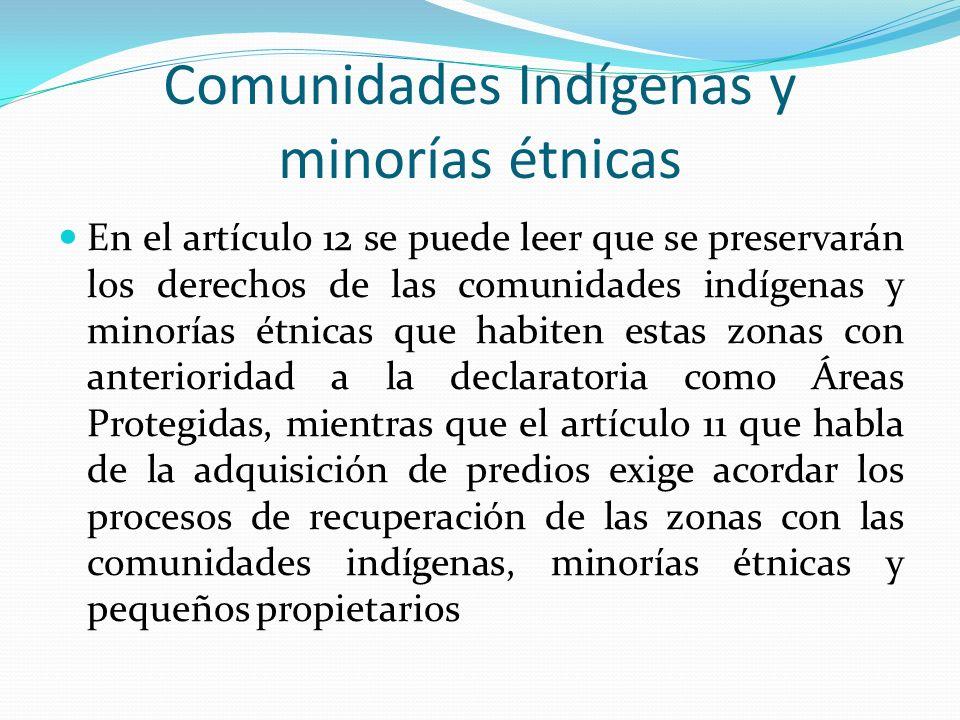 Comunidades Indígenas y minorías étnicas En el artículo 12 se puede leer que se preservarán los derechos de las comunidades indígenas y minorías étnic