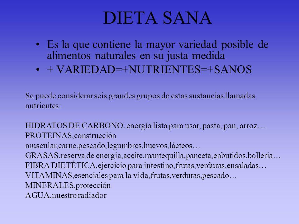 DIETA SANA Es la que contiene la mayor variedad posible de alimentos naturales en su justa medida + VARIEDAD=+NUTRIENTES=+SANOS Se puede considerar se