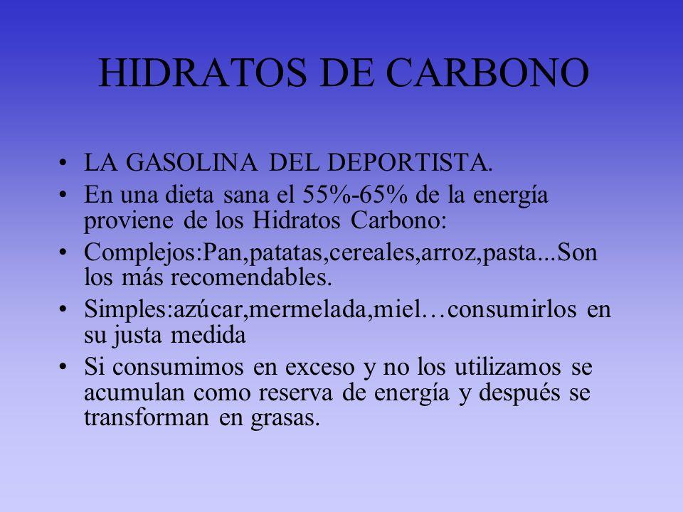 HIDRATOS DE CARBONO LA GASOLINA DEL DEPORTISTA. En una dieta sana el 55%-65% de la energía proviene de los Hidratos Carbono: Complejos:Pan,patatas,cer