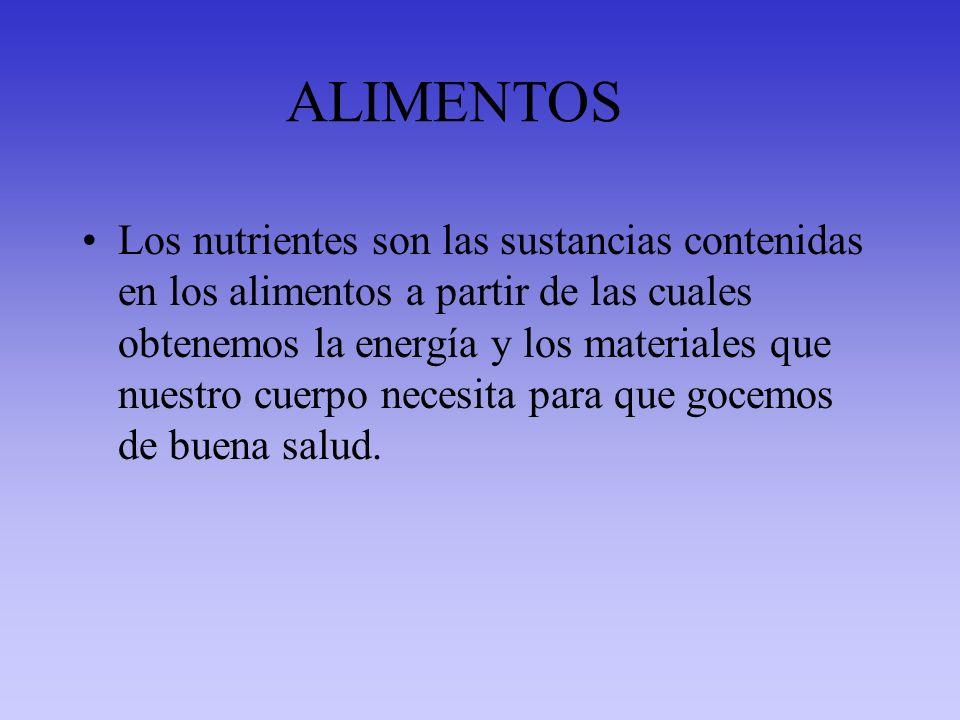 ALIMENTOS Los nutrientes son las sustancias contenidas en los alimentos a partir de las cuales obtenemos la energía y los materiales que nuestro cuerp