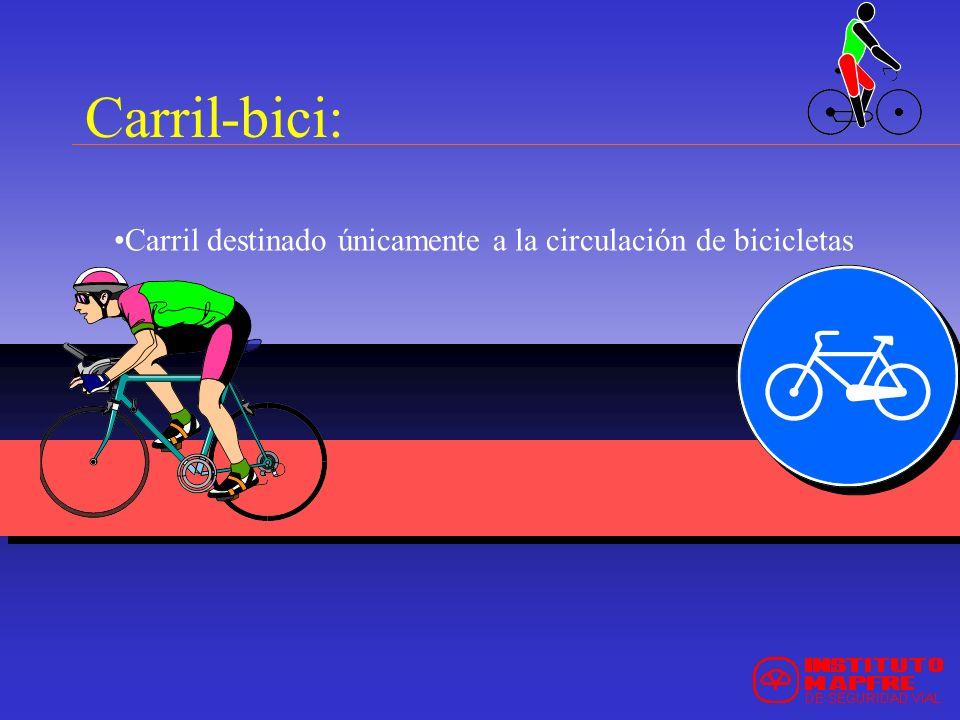 Carril destinado únicamente a la circulación de bicicletas Carril-bici: