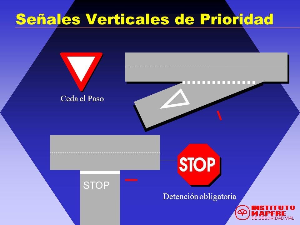 Ceda el Paso Detención obligatoria STOP Señales Verticales de Prioridad