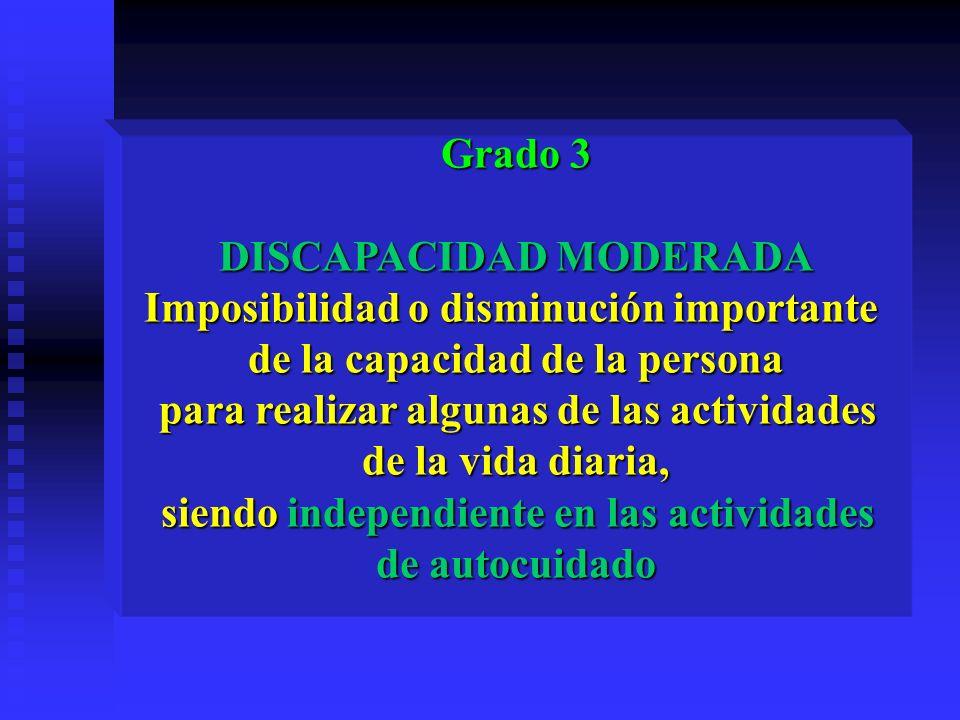 Grado 3 DISCAPACIDAD MODERADA Imposibilidad o disminución importante de la capacidad de la persona para realizar algunas de las actividades para reali