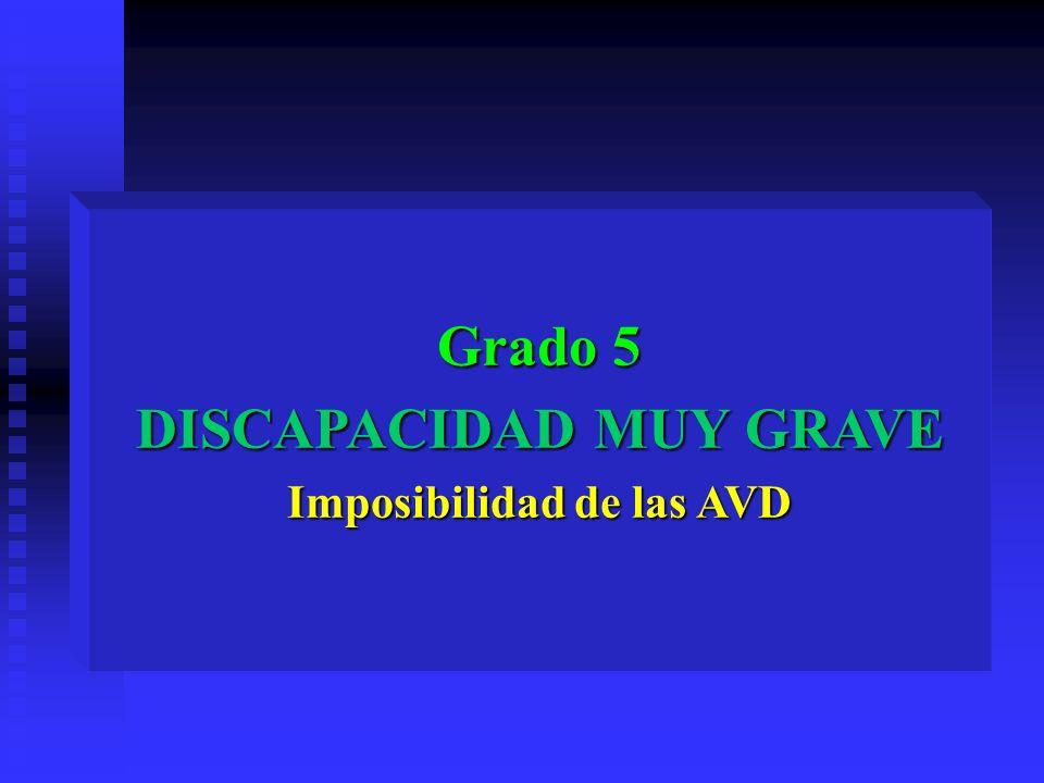 Grado 5 DISCAPACIDAD MUY GRAVE Imposibilidad de las AVD