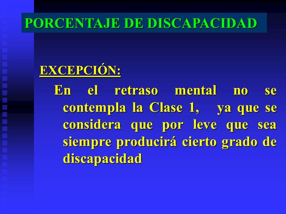 EXCEPCIÓN: En el retraso mental no se contempla la Clase 1, ya que se considera que por leve que sea siempre producirá cierto grado de discapacidad PO