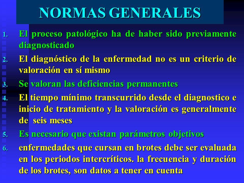 NORMAS GENERALES 1. El proceso patológico ha de haber sido previamente diagnosticado 2. El diagnóstico de la enfermedad no es un criterio de valoració