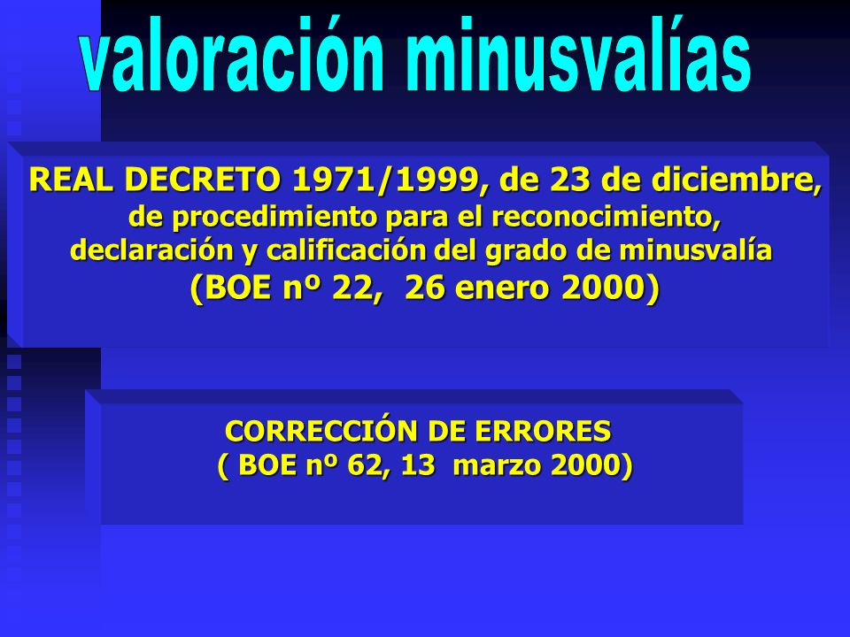 REAL DECRETO 1971/1999, de 23 de diciembre, de procedimiento para el reconocimiento, de procedimiento para el reconocimiento, declaración y calificaci