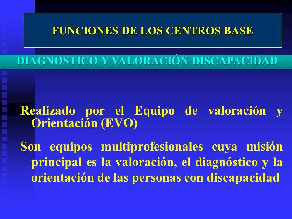 Realizado por el Equipo de valoración y Orientación (EVO) Son equipos multiprofesionales cuya misión principal es la valoración, el diagnóstico y la o