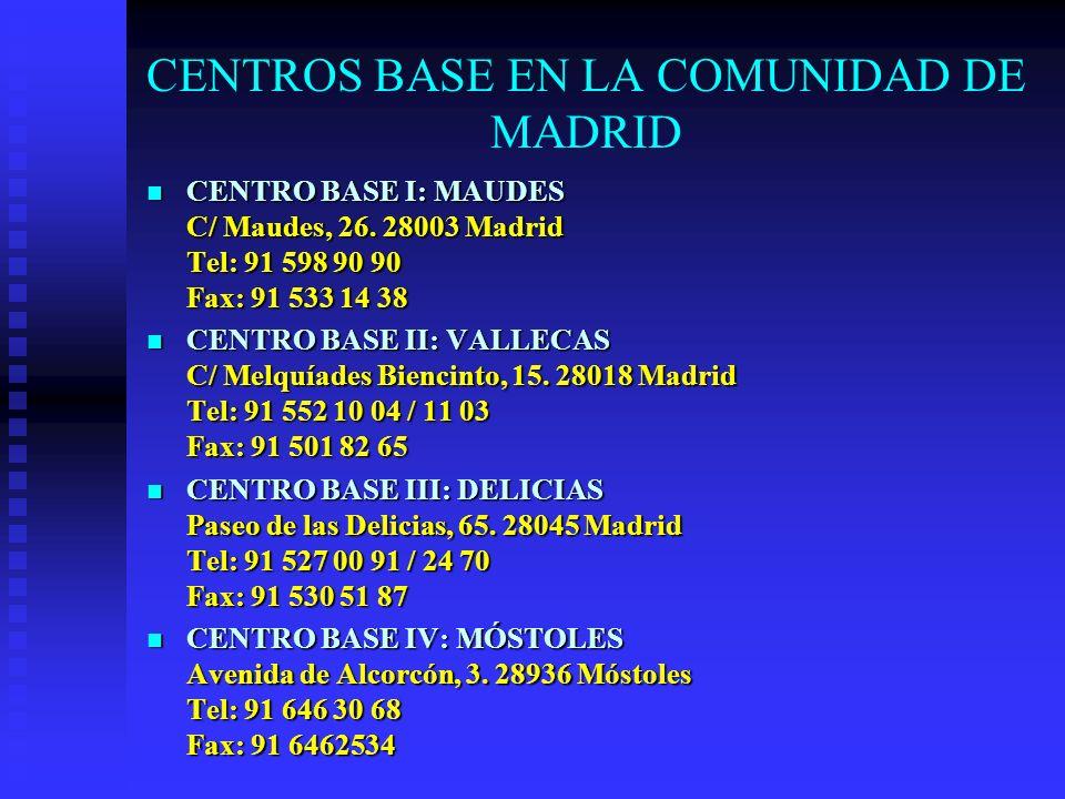 CENTROS BASE EN LA COMUNIDAD DE MADRID CENTRO BASE I: MAUDES C/ Maudes, 26. 28003 Madrid Tel: 91 598 90 90 Fax: 91 533 14 38 CENTRO BASE I: MAUDES C/