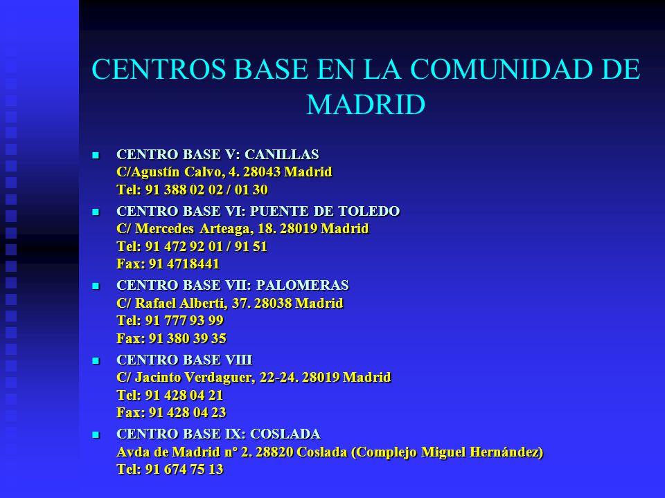 CENTROS BASE EN LA COMUNIDAD DE MADRID CENTRO BASE V: CANILLAS C/Agustín Calvo, 4. 28043 Madrid Tel: 91 388 02 02 / 01 30 CENTRO BASE V: CANILLAS C/Ag