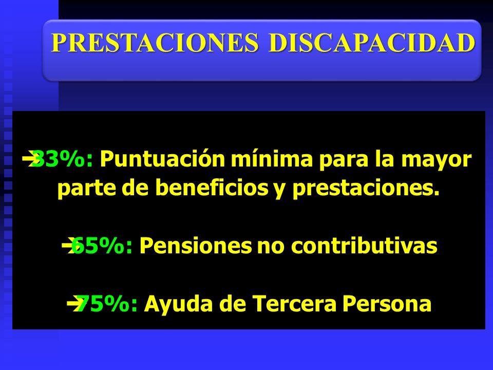33%: Puntuación mínima para la mayor parte de beneficios y prestaciones. 65%: Pensiones no contributivas 75%: Ayuda de Tercera Persona PRESTACIONES DI