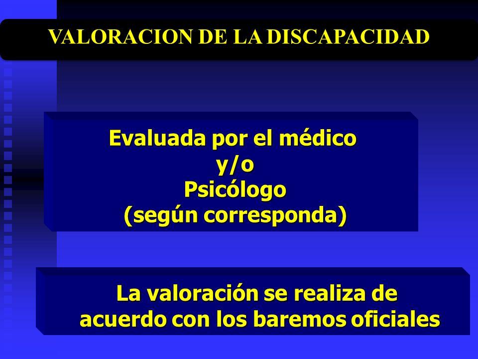 Evaluada por el médico y/oPsicólogo (según corresponda) La valoración se realiza de acuerdo con los baremos oficiales acuerdo con los baremos oficiale