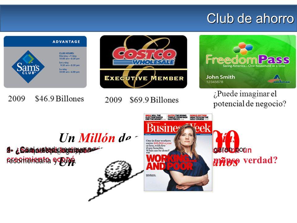 2009 $46.9 Billones 2009 $69.9 Billones Club de ahorro Un Millón de segundos = 12 días Un Billón de segundos = 33 años el potencial de negocio? ¿Puede